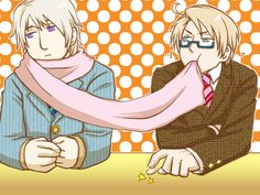べにフス- Hetalia - Alfred and Ivan. I wonder why alfred is eating Ivan's scarf--------no one brought food to the meeting and he is hungry-----maybe the scarf tastes like vodka