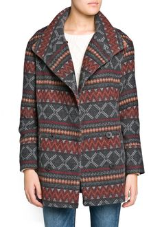 Ethnic pattern double-breasted coat crafted in a wool-blend fabric. Funnel neck and twin pockets on the sides. Ethnic Patterns, Outlet, Manga, Coats For Women, Wool Blend, Pattern Design, Men Sweater, Warm, Boho