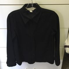 Casual Corner Shirt Casual Corner black button down shirt. Material is 97% polyester / 3% spandex. Shirt has a suede like feel. Great condition. Size P. Casual Corner Tops Button Down Shirts
