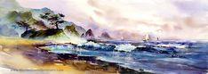 Ocean Breeze - aquarelle Print. Art de la plage. Peinture à l'océan. Bleu. Bateaux à voiles. Pourpre. Plage de sable.