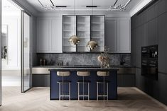 Grey Based Neoclassical Interior Design With Muted & Metallic Accents Kitchen – Home Decoration Kitchen Design Color, Modern Interior, Neoclassical Interior Design, Grey Kitchen Designs, Decor Interior Design, Modern Kitchen, Apartment Interior Design, Kitchen Interior, Interior Design Kitchen