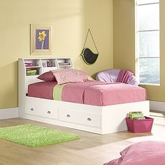 {Bookcase Headboard: Twin Size} great for a kids room; lots of organization!