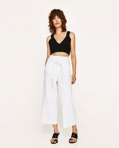 ZARA - NEW IN - CROPPED HIGH WAIST JEANS WITH BELT