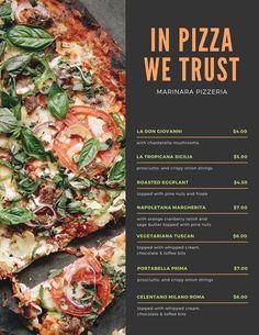 Orange and Green Pizza Menu Deco Pizzeria, Pizzeria Menu, Pizza Menu Design, Pizzeria Design, Roast Menu, Pizza Flyer, Green Pizza, Sage Butter, Cranberry Relish