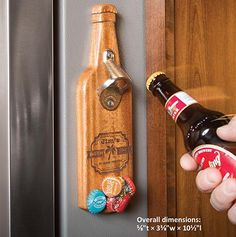 If magically catching bottle caps makes 'em smile, make 'em laugh with a clever laser-engraved label. Man Stuff, Cool Stuff, Bottle Openers, Laser Engraving, Wine Rack, Wood Crafts, Wood Working, Cave, Magazine