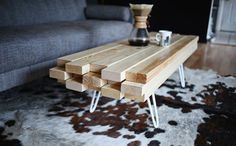 The Easiest Wooden Coffee Table You'll Ever Make via Brit + Co.