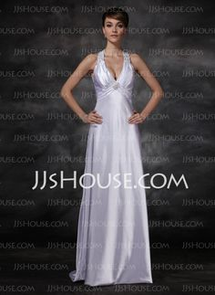 Wedding Dresses - $147.99 - Sheath/Column Halter Sweep Train Charmeuse Wedding Dresses With Ruffle  Beadwork (002001609) http://jjshouse.com/Sheath-Column-Halter-Sweep-Train-Charmeuse-Wedding-Dresses-With-Ruffle-Beadwork-002001609-g1609