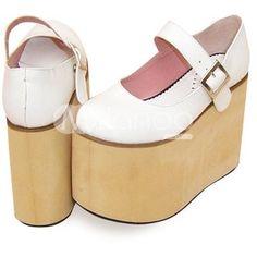 3 1/2'' High Heel White PU Platform Lolita Shoes-Lolita Shoes-Lolita Footwear - Lolita Clothing - Milanoo.com