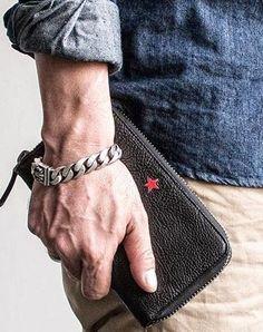 Genuine leather long wallet leather men phone clutch vintage wallet for men