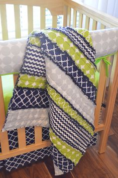 Navy Blue Lime Green and Gray Modern Baby by MadeWithLoveBedding