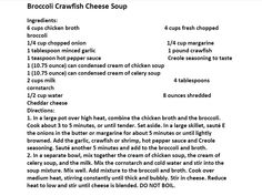 Jim Bob and Mae Recipe of the Day       Broccoli Crawfish Cheese Soup   http://www.dailyrecipedoctor.com