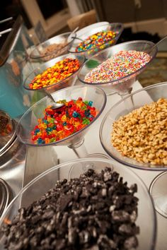 sundae bar - toppings in martini glasses Ice Cream Sunday Bar, Ice Cream Buffet, Sundae Bar, Ice Cream Social, Reception Food, Traditional Cakes, Icecream Bar, Ice Cream Party, Wedding Catering