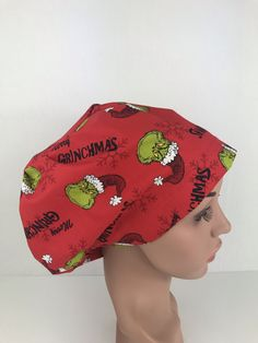 Christmas Grinch Euro Cap – Oksana's Creations Surgical Caps, Scrub Caps, Drip Dry, Grinch, Hair Lengths, Different Styles, Making Out, Scrubs, Hand Sewing