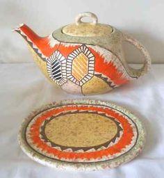 Rare Ditmar Urbach, Czechoslovakian, Art Deco Teapot and Stand