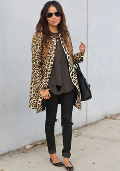 a leopard coat is a closet staple.