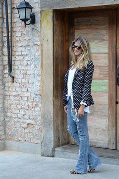 blazer de poa Denim Fashion, Fashion Outfits, Wide Leg Jeans, Blue Jeans, Urban Fashion, Fashion Looks, Look Blazer, Look Girl, Boyfriend Jeans