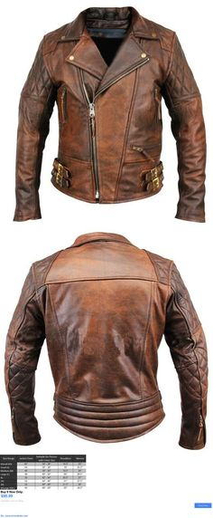 Men Coats And Jackets: Mens Biker Motorcycle Vintage Distressed Brown Winter Leather Jacket BUY IT NOW ONLY: $99.99 #priceabateMenCoatsAndJackets OR #priceabate