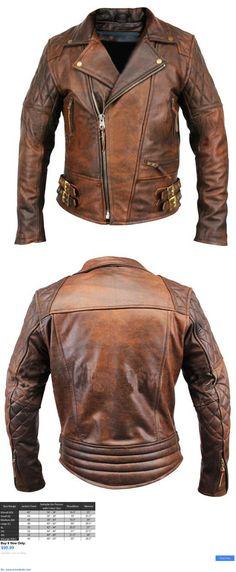 Men Coats And Jackets: Mens Biker Motorcycle Vintage Distressed Brown Winter Leather Jacket BUY IT NOW ONLY: $99.99 #priceabateMenCoatsAndJackets OR #priceabate