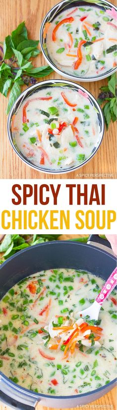 This Chicken Soup packs a punch! Our Spicy Thai Chicken Soup Recipe is loaded with flavor, and is extremely healthy. via @spicyperspectiv