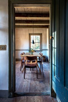 Rustic farmhouse dining room in the Hudson Valley.