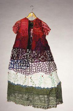 "Ulla Pohjola ~ ""A Self-portrait (April)"" (2002) hand + machine embroidery; cotton, polyester, viscose, lace, mirror, pearls, clothes hanger   130 cm height x 77 cm diameter  *Omakuva (huhtikuu)* via ullapohjola.fi"