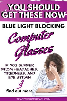 Have you noticed that while working online that your eyes are hurting or that you're getting headaches? Then you might be suffering from the affects of blue light from your computer and electronic devices. What you need is Blue Light Blocking glasses. Find out which ones to choose and where to get them to prevent eye strain. #computerglasses #bluelightglasses #bluelightblockingglasses #onlineworkaccessories #computeraccessories #workfromhomeideas #onlineworkideas Online Work From Home, Work From Home Jobs, Tips Online, Online Jobs, Work Opportunities, How To Become, How To Get, Computer Glasses, Busy At Work