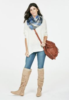 Elevate your wardrobe with Elodee. Over-the-knee boots are always a must-have. The knit cuffing, shrugged detailing, and varied buckling make her just great for the colder months. Winter Outfits, Casual Outfits, Cute Outfits, Winter Stil, Friend Outfits, Over The Knee Boots, What To Wear, Active Wear, Winter Fashion