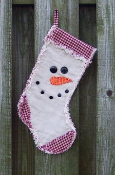 Primitive Rag Quilt Snowman Face Christmas Stocking