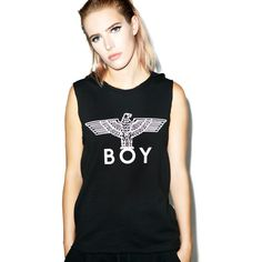 BOY London Hooded Tank ($29) ❤ liked on Polyvore featuring tops, graphic tank tops, hooded top, graphic tops, hooded tank top and sleeveless t shirt