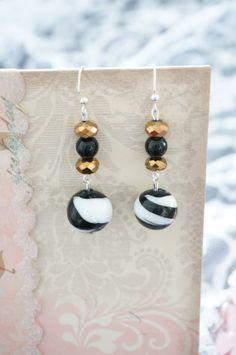 Black and Copper Glass Bead Earrings by KaliKJewelry on Etsy, $8.00