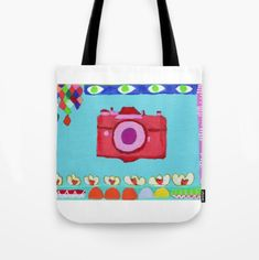 Tati Galiano. Ilustracion. Society6. Tote Bag colorful camera. #society6 #camera #colorful