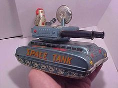 1950s Robot Space Tank Tin Litho Friction Toy Japan