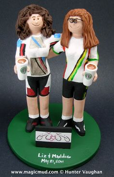 Biking Gay Brides Wedding Cake Topper    Any professions or hobbies can easily be incorporated into a personalized same sex, gay or lesbian wedding cake topper for you....Simply call us toll-free at 1-800-231-9814 or visit us at http://www.magicmud.com for more info   $240 #gay#lesbian#wedding#cake#topper#custom#same sex