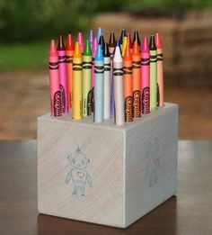 This Wood Crayon Holder is a beautiful way to store your childs crayons. This comes with a 24 pack of Crayola Crayons so that it is ready to