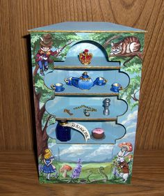 Dollhouse Miniature Alice in Wonderland Corner Cupboard Hand Painted OOAK 1:12