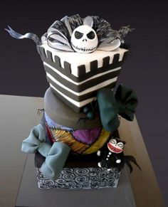 The Nightmare Before Christmas Jack Skellington & Scary Teddy Gift Box Cake . Just want to say I was a JS fan before it was trendy Halloween Wedding Cakes, Christmas Wedding Cakes, Halloween Cakes, Christmas Birthday, Holiday Cakes, Halloween Town, Halloween Halloween, Christmas Wishes, Christmas Presents