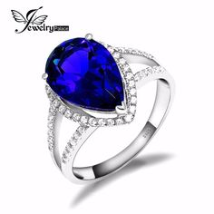 Good price Pear 5.5CT Gem, Engagement/Wedding Created Sapphire Ring for Women, New Unique Gift Genuine Solid Pure 925 Sterling Silver just only $24.99 with free shipping worldwide  #finejewelry Plese click on picture to see our special price for you