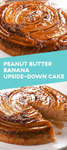Peanut Butter Banana Upside-Down Cake - Delicious Recipes Banana Upside Down Cake, Upside Down Cakes, Yummy Treats, Sweet Treats, Biscuits, Cake Recipes, Dessert Recipes, Salty Cake, It Goes On