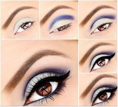 Eye Makeup Tips.Smokey Eye Makeup Tips - For a Catchy and Impressive Look Eye Makeup Glitter, Silver Eye Makeup, Eye Makeup Tips, Makeup Tricks, Makeup Tutorials, Makeup Ideas, Makeup Inspo, Makeup Goals, Hair Makeup