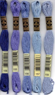 DMC six-stranded embroidery floss 158, 155, 156, 157, 159 a periwinkle and blue series