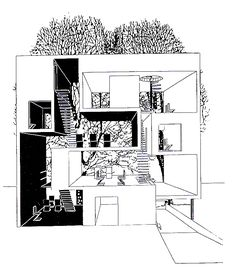 """...40 years later an elevation section of a """"double house"""" in Utrecht designed by MVRDV at 1995"""