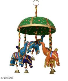 Wind Chimes Trendy Wall Decor Material: Paper Mache Pack: Pack of 1 Product Height: 40 cm Size: Big Tokri - 15 cm Small Tokri- 10 cm Elephant - 3 in Country of Origin: India Sizes Available: Free Size   Catalog Rating: ★4.2 (700)  Catalog Name: Classy Religious Wall Hangings CatalogID_943507 C127-SC1619 Code: 761-6181708-