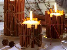 Die schönsten Bastelideen für Weihnachten - Stumpen-Kerzen mit Zimtstangen