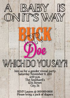 Buck or Doe Gender Reveal party Invitation on Etsy, $55.00