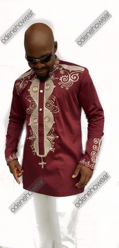 Odeneho Wear Men's Burgundy Polished Cotton Top by Odenehowear ~DKK ~African… African Attire, African Wear, African Dress, African Women, African Textiles, African Fabric, Mens Fashion Wear, Men's Fashion, African Shirts