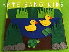 Estanque con patos. Quietbook/Libro sensorial by Arte Sano KIDS. Juguetes sensoriales y educativos hechos a mano. Visita nuestra página de Facebook: Arte Sano KIDS. Instagram: @artesanokids