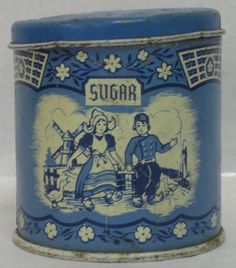 Looking for… Canister Sets, Canisters, Delft, Vintage Tins, Vintage Antiques, Tin Containers, Blue And White China, Tin Cans, Blue Nails