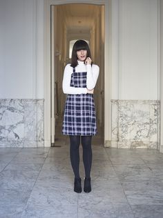 Plaid Shift Dress and Turtleneck Top, Very 60s and 90s fashion inspired,