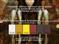 AW2015/2016 trend forecasting for Women, Intimate, Sport Apparel - Transform different traditional neutral Browns into something more modern with clashing hues and bright tones.