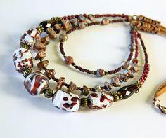 Brown Bohemian multistrand Lampwork necklace Leopardskin Jasper necklace Tribal Gypsy Safari Boho Wedding jewelry Boho Bride Handmade (57.00 USD) by MarianneMerceria